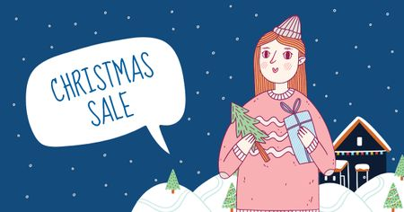 Christmas Sale with Cute Girl holding Gifts Facebook AD Design Template