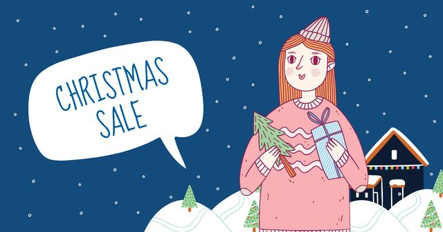 Plantilla de diseño de Christmas Sale with Cute Girl holding Gifts Facebook AD