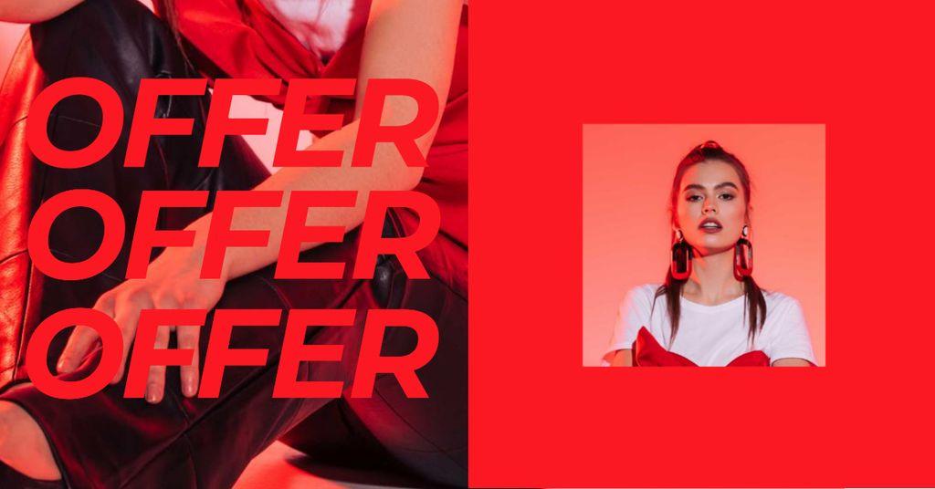 Women's Day Offer with Stylish Woman Facebook AD – шаблон для дизайну