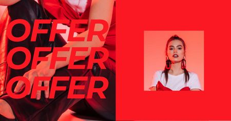Plantilla de diseño de Women's Day Offer with Stylish Woman Facebook AD