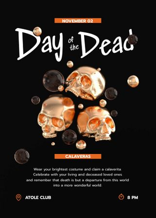 Day of the Dead Holiday Party Announcement with Golden Skulls Invitation – шаблон для дизайна