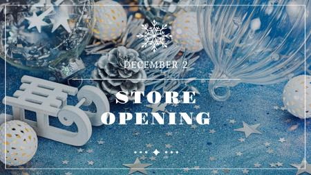 Ontwerpsjabloon van FB event cover van Christmas Store Opening Announcement with Festive Decorations