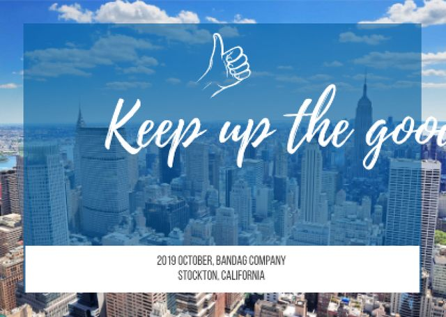 Business quote with Skyscrapers View Card Modelo de Design