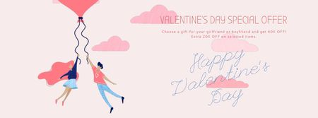 Ontwerpsjabloon van Facebook Video cover van Valentine's Day Couple flying on Heart balloon