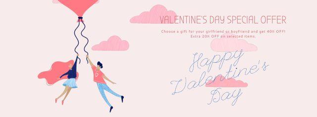 Valentine's Day Couple flying on Heart balloon  Facebook Video cover Modelo de Design