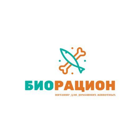 Pet Food with Bone and Fish Icon Logo – шаблон для дизайна