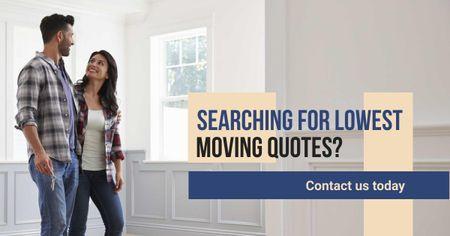 Plantilla de diseño de Real Estate Ad Couple in New Home Facebook AD