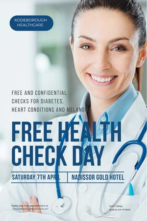 Ontwerpsjabloon van Pinterest van Free health check day with Smiling Doctor