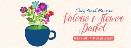 Template di design Bright Bouquet of Flowers in Cup Facebook Video cover