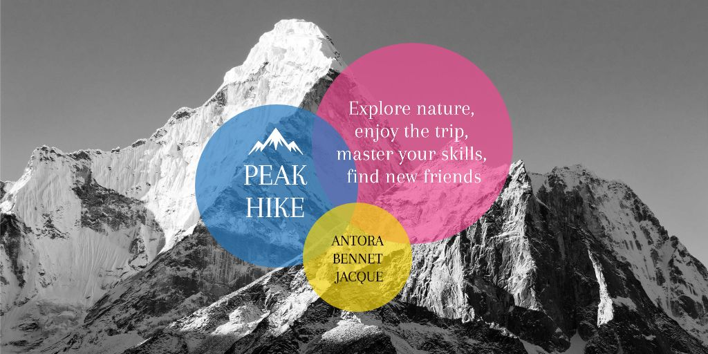 Hike Trip Announcement with Scenic Mountains Peaks Twitter Design Template