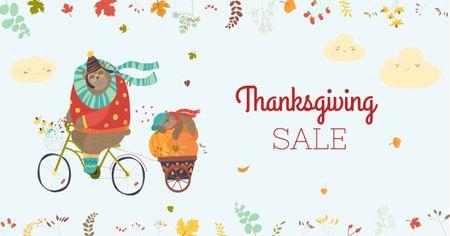 Thanksgiving Sale with Cute Animals Facebook AD – шаблон для дизайну
