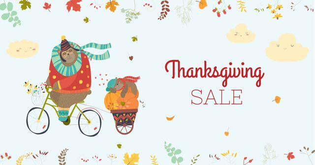 Thanksgiving Sale with Cute Animals Facebook AD Tasarım Şablonu