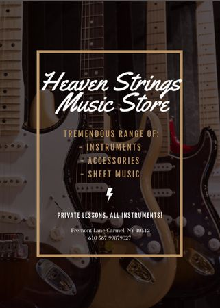 Plantilla de diseño de Guitars in Music Store Flayer
