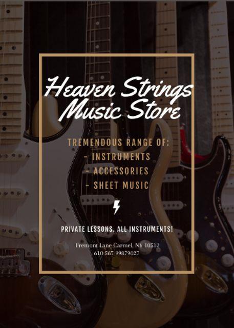 Template di design Guitars in Music Store Flayer