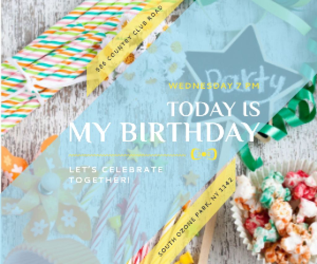 Template di design Birthday party in South Ozone park Medium Rectangle