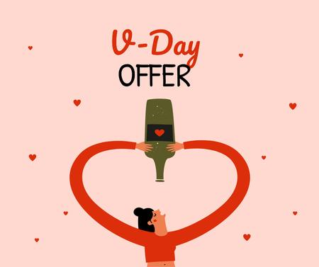 Wine offer on Valentine's day Facebook Modelo de Design