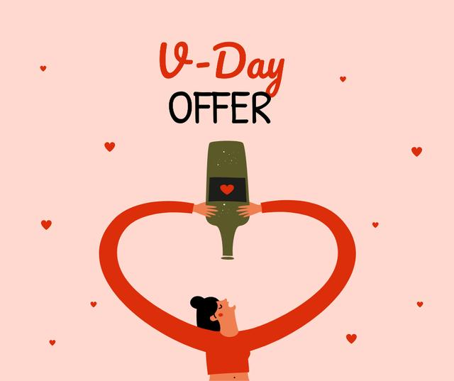 Wine offer on Valentine's day Facebook Design Template