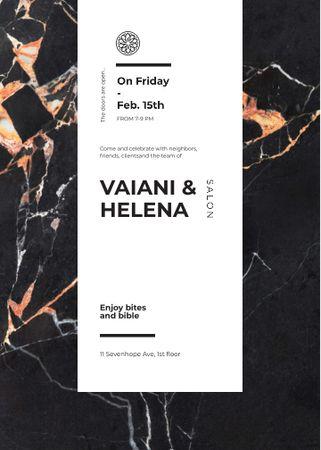 Salon ad on Marble dark texture Invitation – шаблон для дизайну
