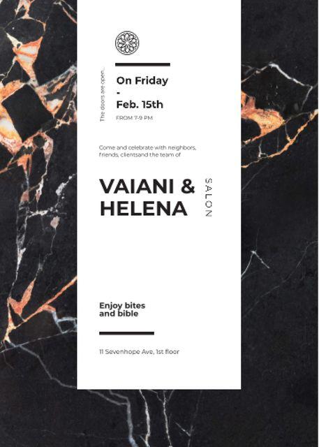 Template di design Salon ad on Marble dark texture Invitation