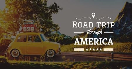 Modèle de visuel Road trip trough America Offer with Vintage Car - Facebook AD