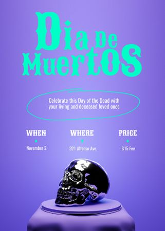 Dia de los Muertos Announcement with Skull Invitation – шаблон для дизайна
