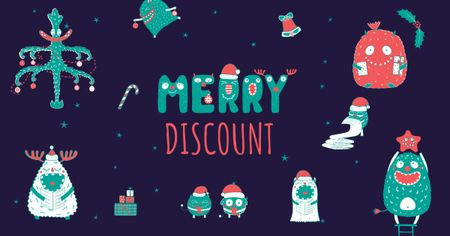 Plantilla de diseño de Discount Offer with Cute Christmas Characters Facebook AD