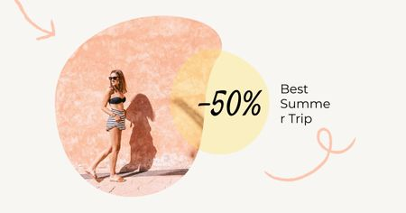 Template di design Stylish Girl in Summer clothes Facebook AD
