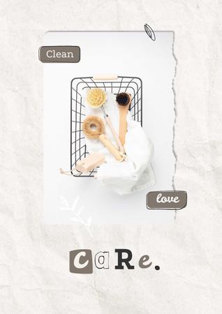 Modèle de visuel Eco Concept with Wooden Brushes in Basket - Poster