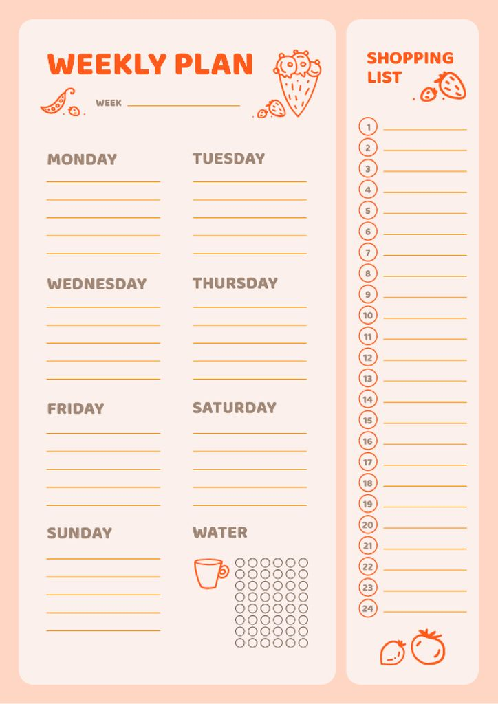 Weekly Meal Planner with Food Icons — Create a Design
