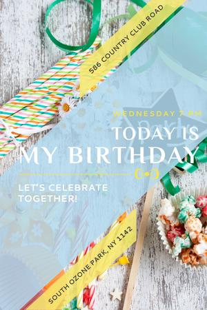 Birthday Party Invitation with Bows and Ribbons Pinterest Tasarım Şablonu