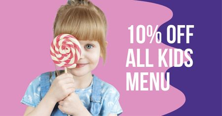 Template di design Kids Menu offer with Girl Holding Lollipop Facebook AD