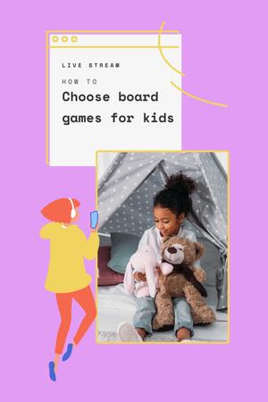 Live Stream about Board Games for Kids Pinterest – шаблон для дизайна