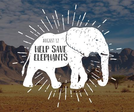 Elephant Day wild animal silhouette Facebook – шаблон для дизайну