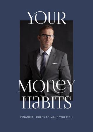 Plantilla de diseño de Business ad with Confident Businessman Poster