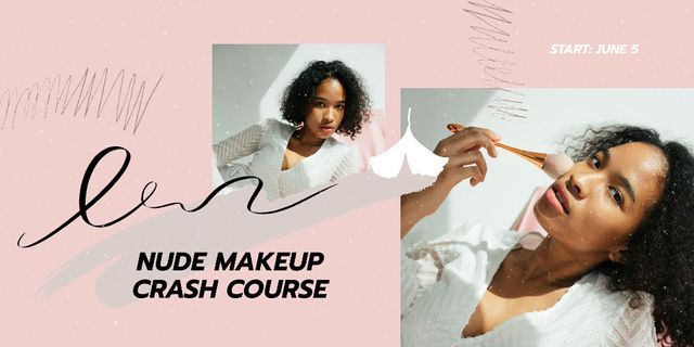 Makeup Course Ad Attractive Woman holding Brush Twitter Design Template