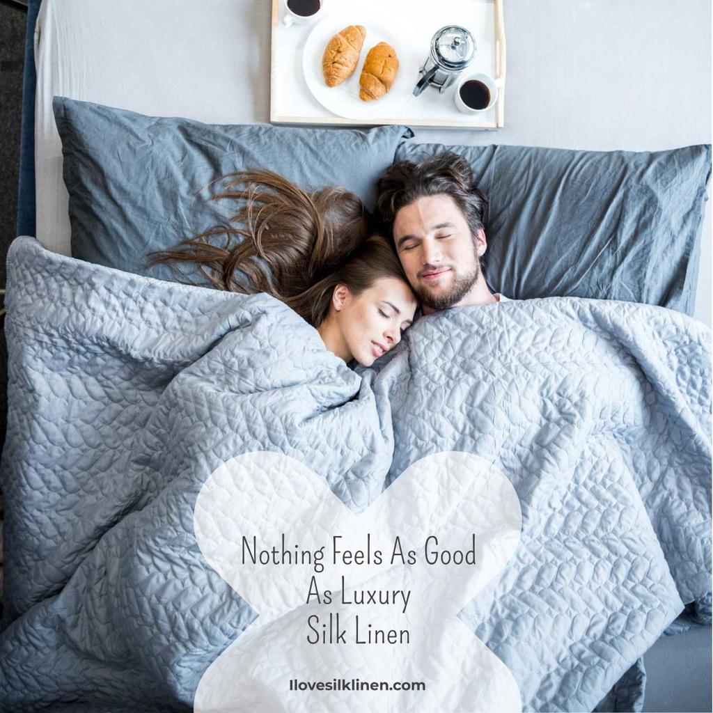 Luxury silk linen with Cute Couple in Bed — ein Design erstellen