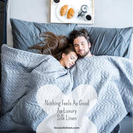 Luxury silk linen with Cute Couple in Bed Instagram – шаблон для дизайну