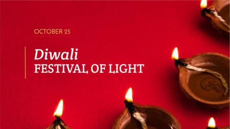 Plantilla de diseño de Diwali Festival Announcement with Candles FB event cover