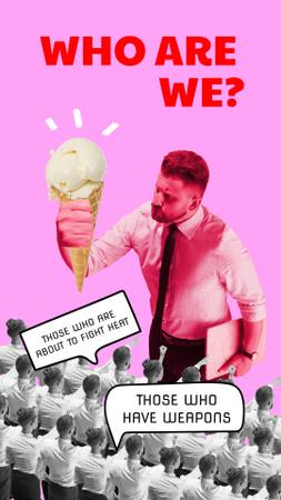 Ontwerpsjabloon van Instagram Story van Funny Serious Businessman holding Big Ice Cream