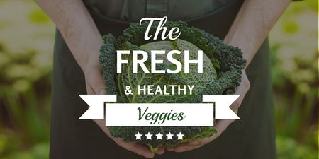 Template di design Fresh veggies with farmer Twitter