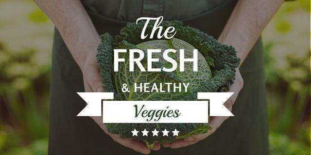 Template di design Fresh veggies with farmer Twitter