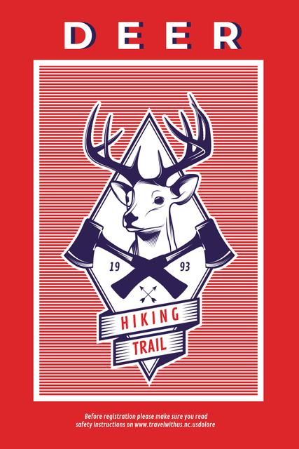 Modèle de visuel Hiking Trail Ad with Deer Icon in Red - Pinterest