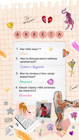 Cute Questionnaire with Young Girl on Roller Skates Instagram Video Story Modelo de Design