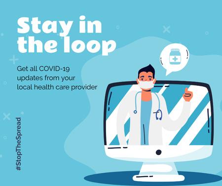 Ontwerpsjabloon van Facebook van #StopTheSpread Coronavirus awareness with Doctor's advice