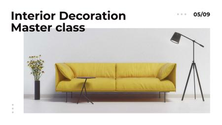 Furniture ad with Sofa in yellow FB event cover Tasarım Şablonu