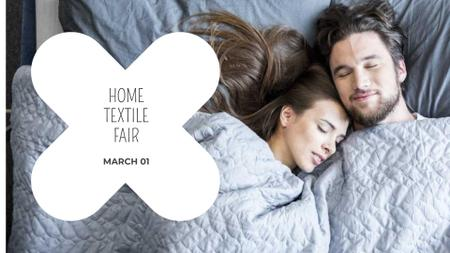 Plantilla de diseño de Bed Linen ad with Couple sleeping in bed FB event cover