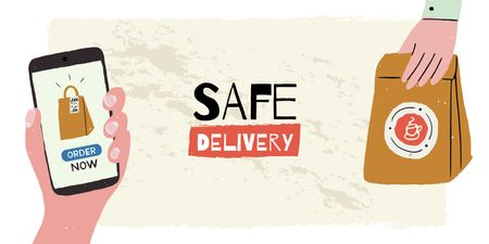 Plantilla de diseño de Delivery Services offer on Quarantine Twitter