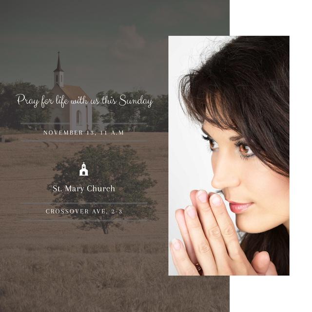 Designvorlage Young Woman praying für Instagram