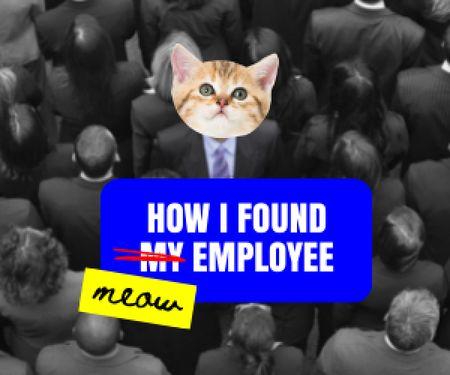 Cute Cat thinking about perfect Employee Medium Rectangle Modelo de Design