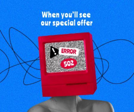 Funny illustration of Woman with TV head Medium Rectangle Modelo de Design
